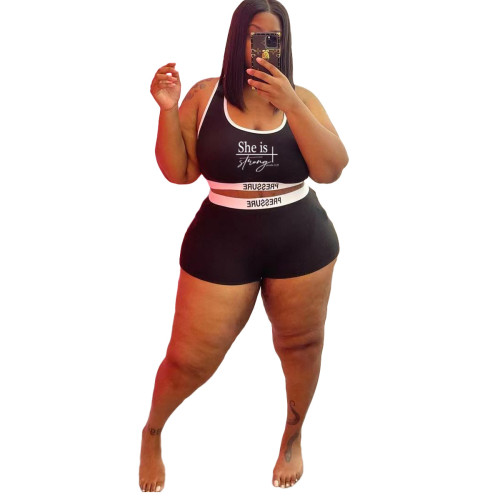 Plus Size Letter Print Black Contrast Two Piece Swimwear