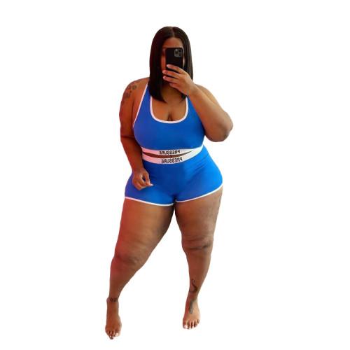 Plus Size Print Blue Contrast Two Piece Swimwear