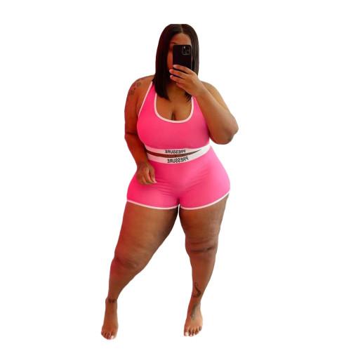 Plus Size Print Pink Contrast Two Piece Swimwear