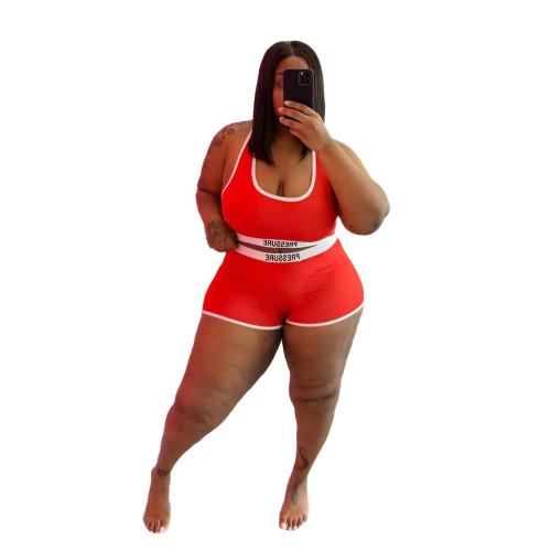 Plus Size Print Red Contrast Two Piece Swimwear