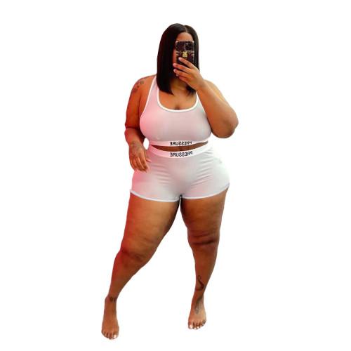Plus Size Print White Two Piece Swimwear