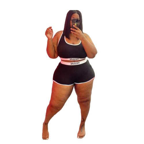 Plus Size Print Black Contrast Two Piece Swimwear