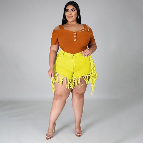 Yellow Ripped Stylish Tassel Plus Size Denim Shorts