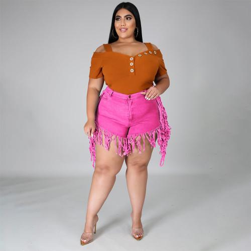 Hot Pink Ripped Stylish Tassel Plus Size Denim Shorts