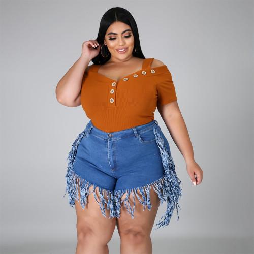 Dark Blue Ripped Stylish Tassel Plus Size Denim Shorts