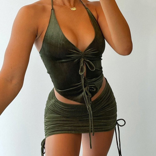 Ribbed Halter Drawstring Crop Top and Ruched Skirt Set