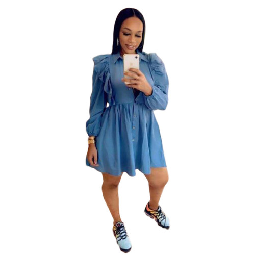 Blue Ruffle A-Line Full Sleeve Short Shirt Dress