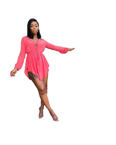 Pink Deep-V Collar Irregular Hem Short Dress with Belt