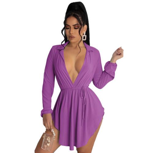 Purple Deep-V Collar Irregular Hem Short Dress with Belt