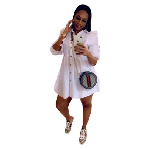 White Ruffle A-Line Full Sleeve Short Shirt Dress