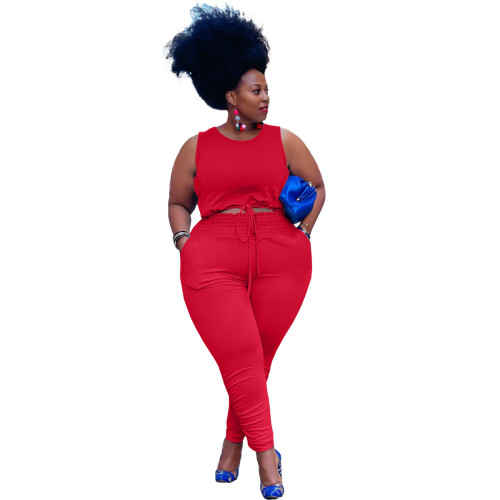 Plus Size Red Strings Crop Tank and Stack Pants 2 Piece Set