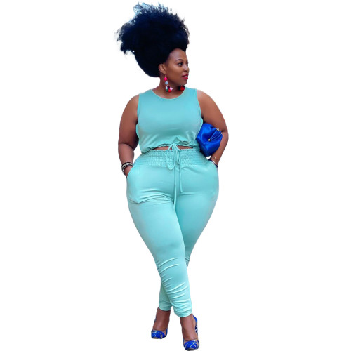 Plus Size Blue Strings Crop Tank and Stack Pants 2 Piece Set
