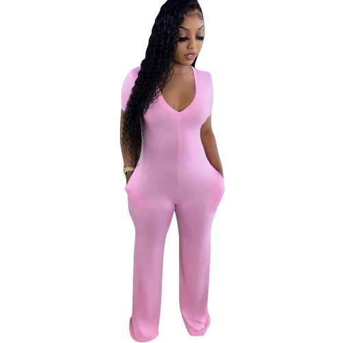 Short Sleeve V-Neck Pink Wide Leg Jumpsuit