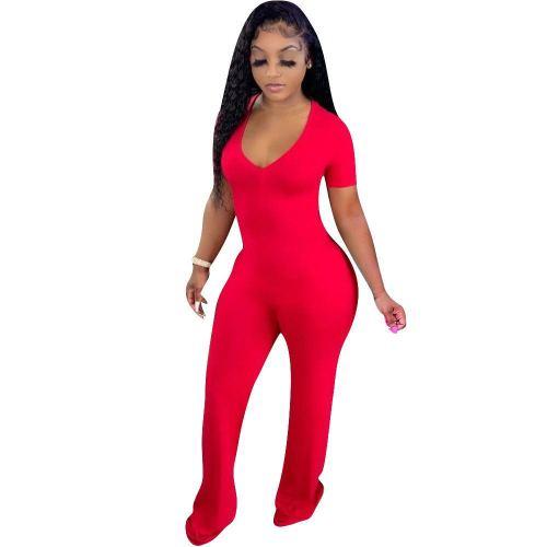 Short Sleeve V-Neck Red Wide Leg Jumpsuit