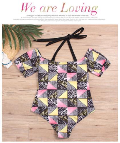 Plus Size Sexy Print Halter One Piece Swimwear