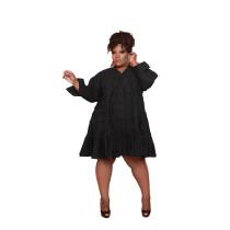 Plus Size Black V-Neck Loose A Line Dress