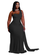 Black One Shoulder Mermaid Maxi Dress