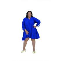 Plus Size Blue V-Neck Loose A Line Dress