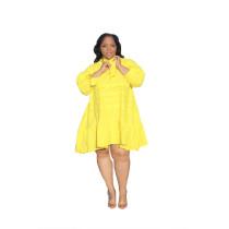 Plus Size Yellow V-Neck Loose A Line Dress