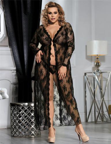 Black Plus Size Floral Lace Gown