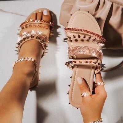 Trendy Rhinestone Studded Slippers for Women