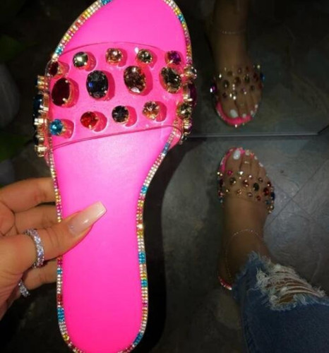 Rhinestone Flat Slippers for Women
