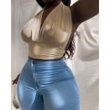Khaki Plus size  Neck Halter Backless  Bandage Top