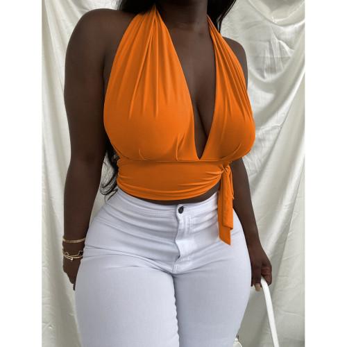 Plus size Orange  Neck Halter Backless  Bandage Top