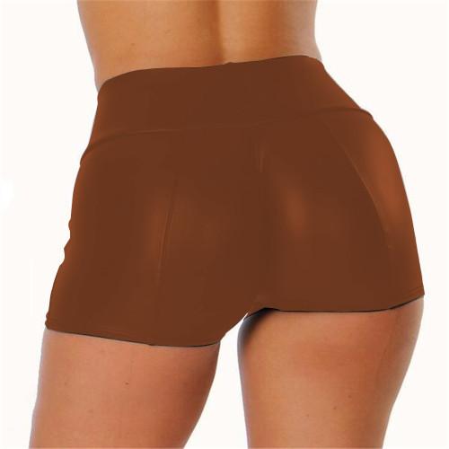 S-5XL Brown PU Leather High Waist Shorts