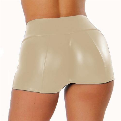 S-5XL Khaki PU Leather High Waist Shorts