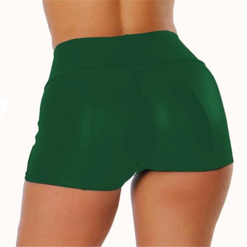 S-5XL Dark Green PU Leather High Waist Shorts