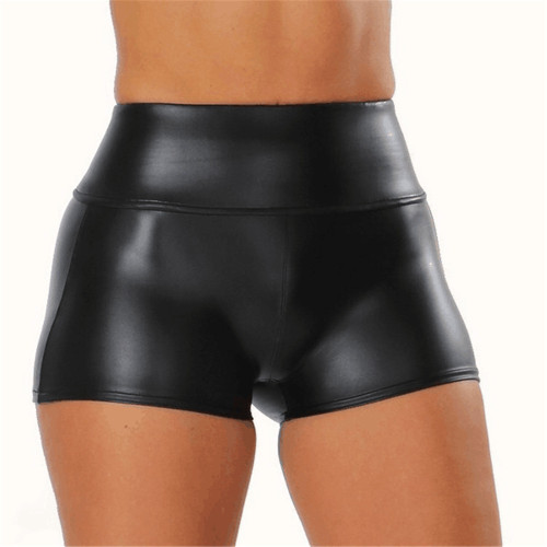 S-5XL Black PU Leather High Waist Tight Shorts