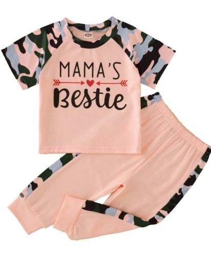 Kids Girl Pink Print Shirt and Pants 2pc Set