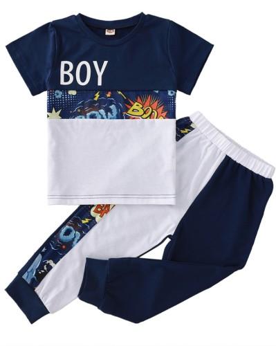 Kids Boy Print Color Contrast Shirt and Pants 2pc Set