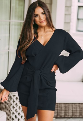 Dark Blue Knit Long Puff Sleeve V-Neck Knotted Wrap Mini Dress