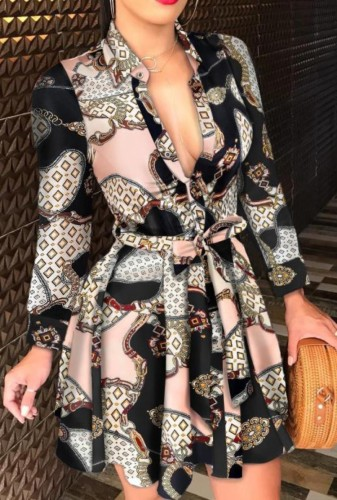 Print Long Sleeve Short Skater Dress with Belt