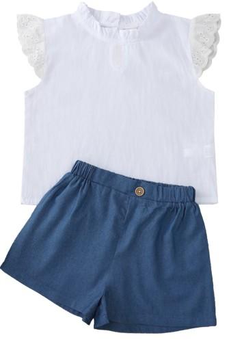 Kids Girl Lace Shirt and Shorts 2pc Set