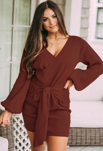 Red Knit Long Puff Sleeve V-Neck Knotted Wrap Mini Dress