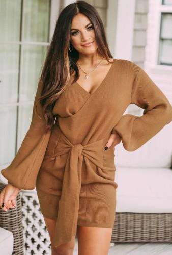 Khaki Knit Long Puff Sleeve V-Neck Knotted Wrap Mini Dress