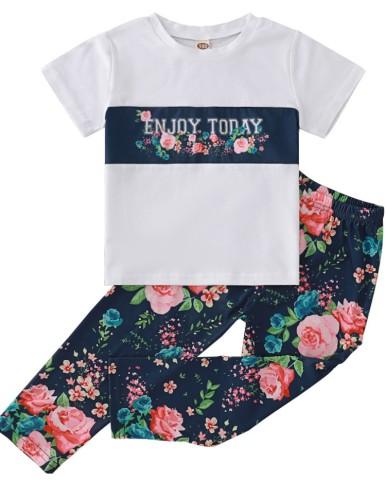Kids Girl Flowers Print Shirt and Pants 2pc Set