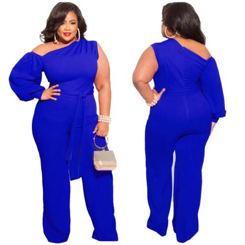 Plus Size Blue One Shoulder Wide Leg Jumpsuit