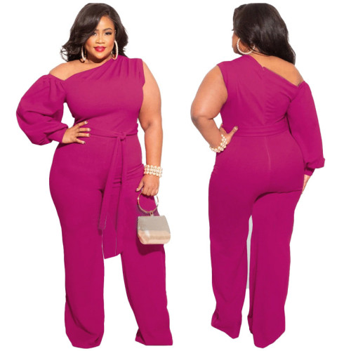 Plus Size Hot Pink One Shoulder Wide Leg Jumpsuit