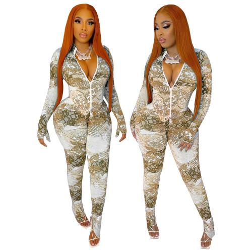 Sexy Print Khaki Slit Bottom Long Sleeve Zipper Bodycon Jumpsuit