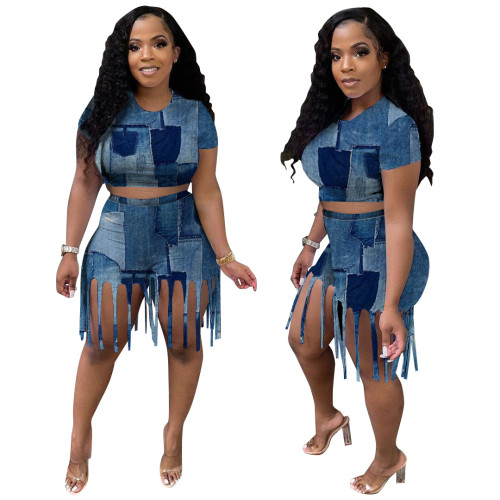 Fake Denim Print Crop Top and Tassel Shorts Two Pieces