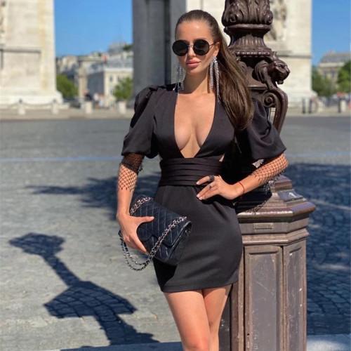 Sexy Black Puff Sleeve Rhinestone Deep-V Backless Bodycon Dress