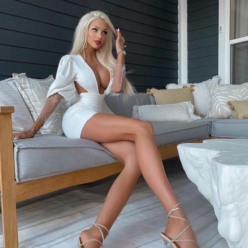 Sexy White Puff Sleeve Rhinestone Deep-V Backless Bodycon Dress