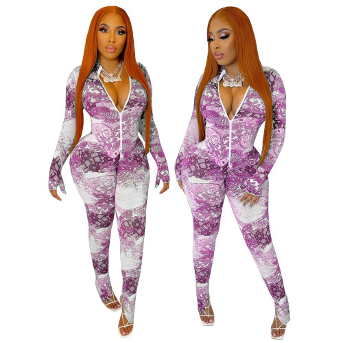 Sexy Print Purple Slit Bottom Long Sleeve Zipper Bodycon Jumpsuit