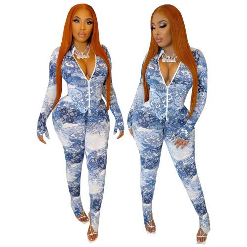 Sexy Print Blue Slit Bottom Long Sleeve Zipper Bodycon Jumpsuit