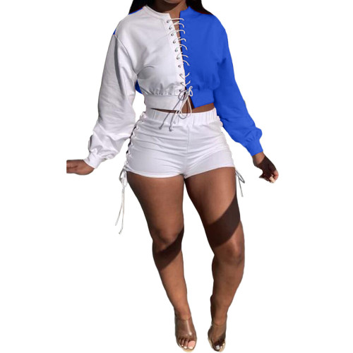 Autumn Blue and White Lace Up Crop Top and Shorts Set