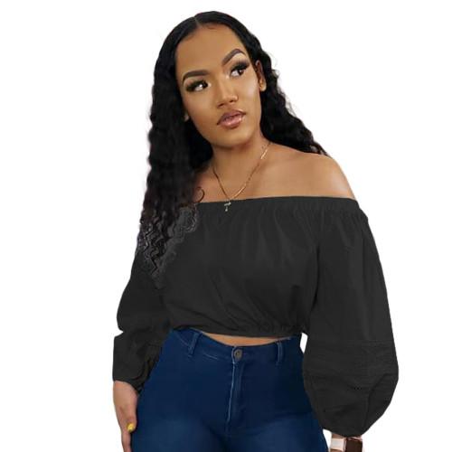 Black Long Sleeve Off Shoulder Crop Tops